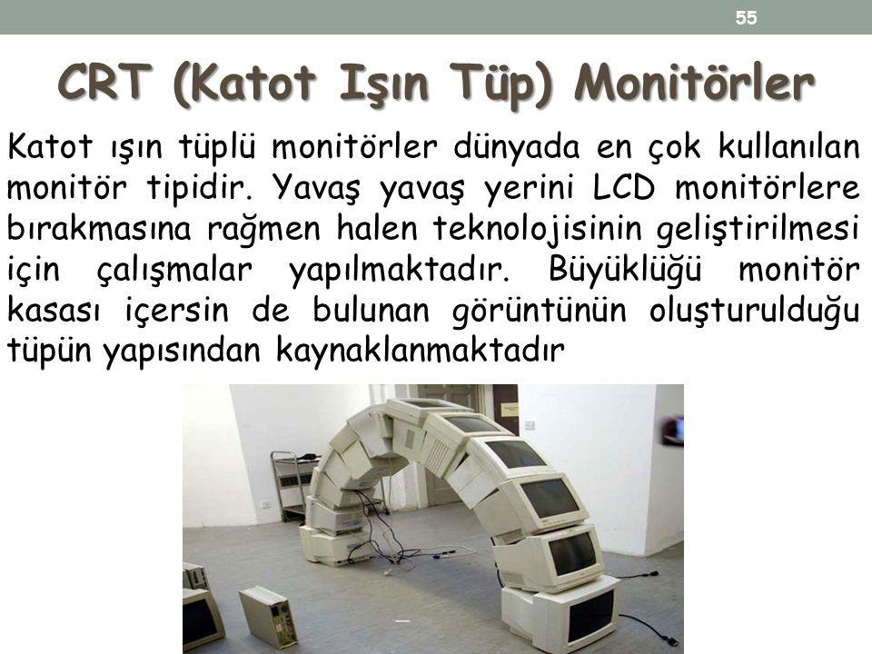 CRT (Katot Işın Tüp) Monitörler Katot ışın tüplü monitörler dünyada en çok kullanılan monitör tipidir. Yavaş yavaş yerini LCD monitörlere bırakmasına