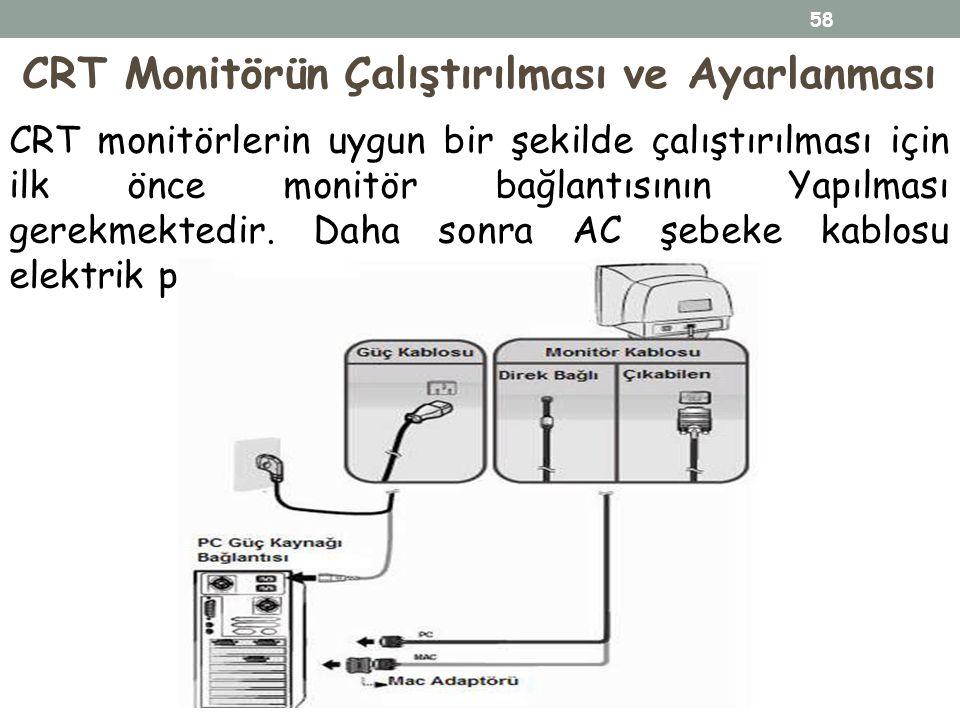 CRT monitörlerin uygun bir şekilde çalıştırılması için ilk önce monitör bağlantısının Yapılması gerekmektedir. Daha sonra AC şebeke kablosu elektrik p