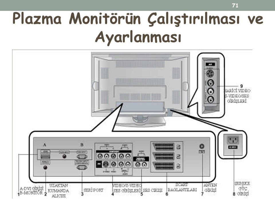 Plazma Monitörün Çalıştırılması ve Ayarlanması 71
