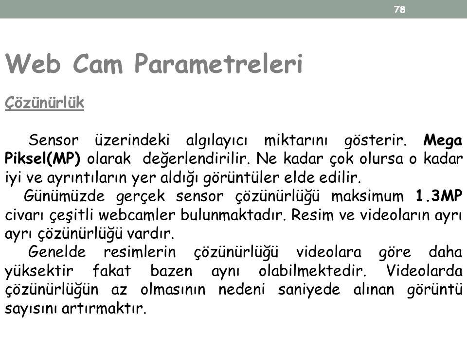 78 Web Cam Parametreleri Çözünürlük Sensor üzerindeki algılayıcı miktarını gösterir. Mega Piksel(MP) olarak değerlendirilir. Ne kadar çok olursa o kad