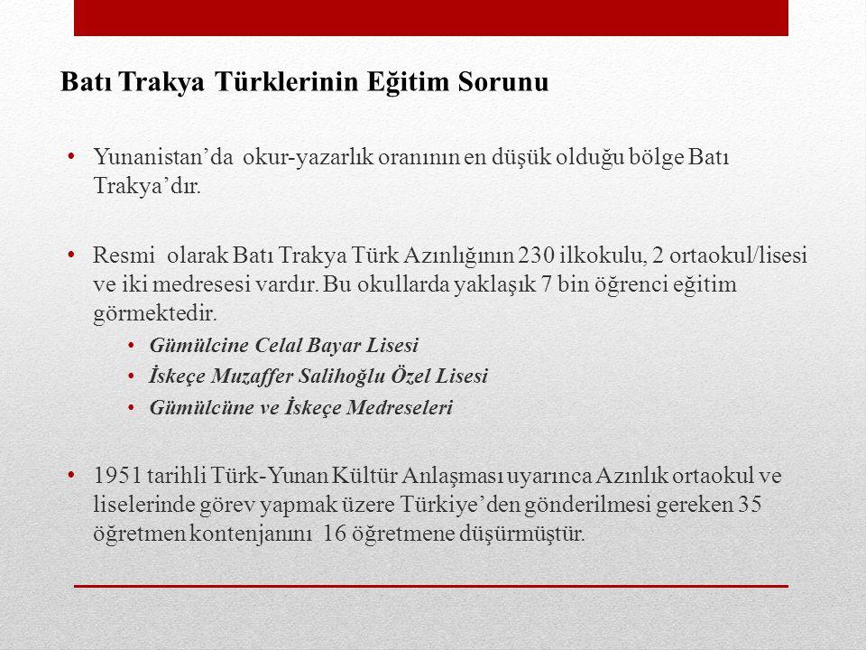 Batı Trakya Türklerinin Eğitim Sorunu Yunanistan'da okur-yazarlık oranının en düşük olduğu bölge Batı Trakya'dır. Resmi olarak Batı Trakya Türk Azınlı