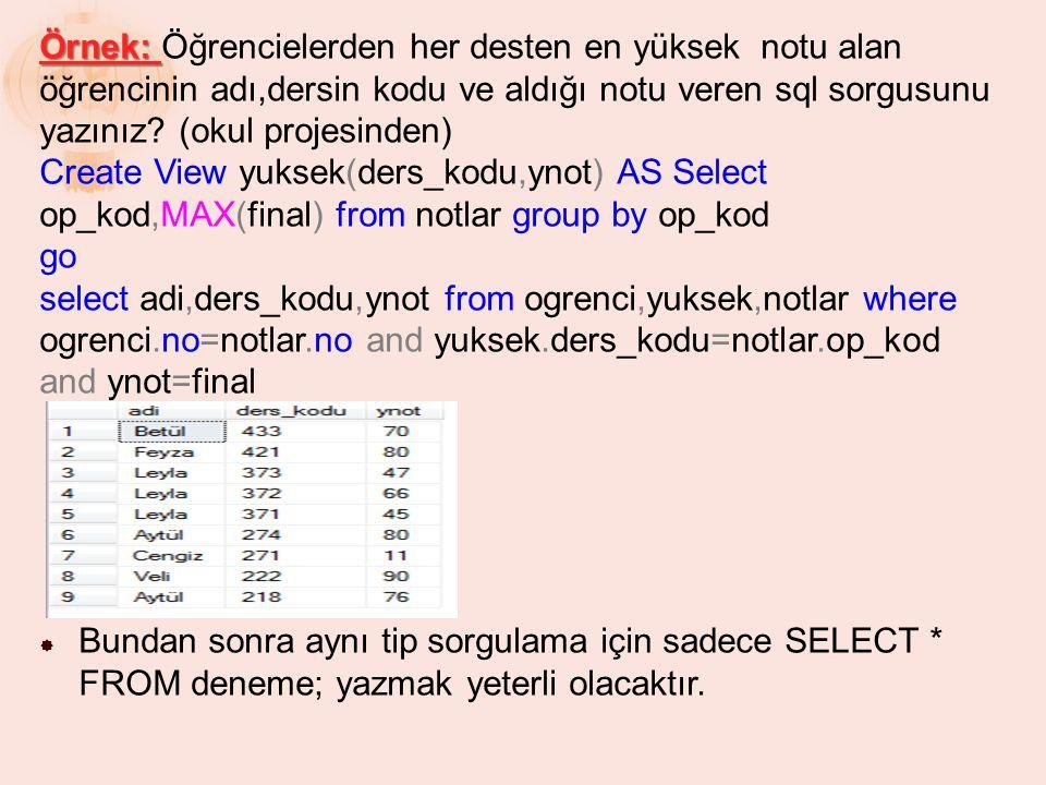 Örnek: Örnek: Öğrencielerden her desten en yüksek notu alan öğrencinin adı,dersin kodu ve aldığı notu veren sql sorgusunu yazınız? (okul projesinden)