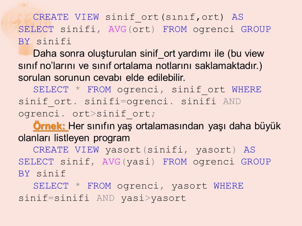 CREATE VIEW sinif_ort(sınıf,ort) AS SELECT sinifi, AVG(ort) FROM ogrenci GROUP BY sinifi Daha sonra oluşturulan sinif_ort yardımı ile (bu view sınıf n