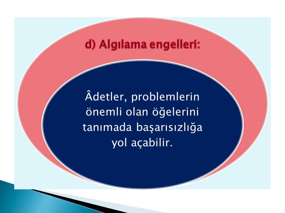 Âdetler, problemlerin önemli olan öğelerini tanımada başarısızlığa yol açabilir.