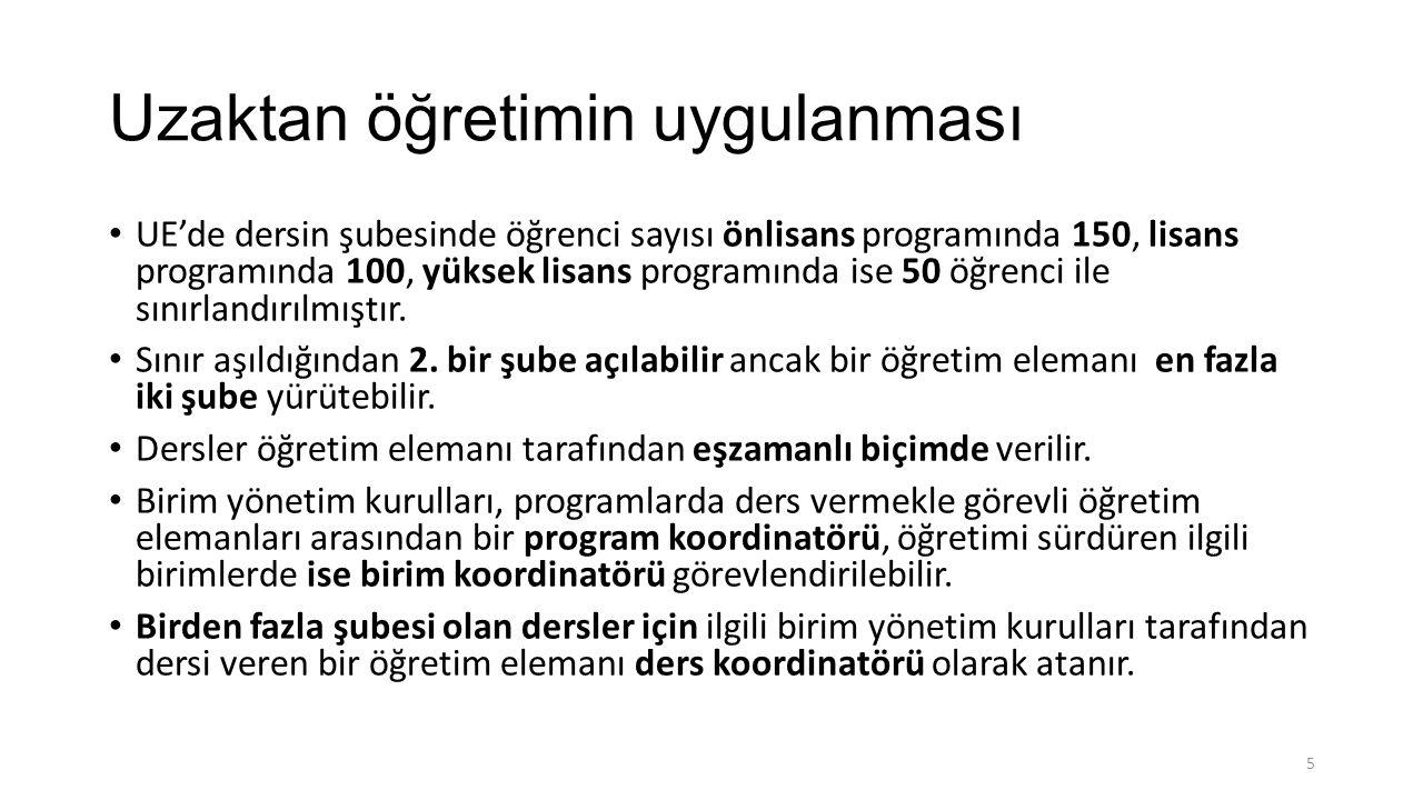 Uzaktan öğretimin uygulanması UE'de dersin şubesinde öğrenci sayısı önlisans programında 150, lisans programında 100, yüksek lisans programında ise 50 öğrenci ile sınırlandırılmıştır.