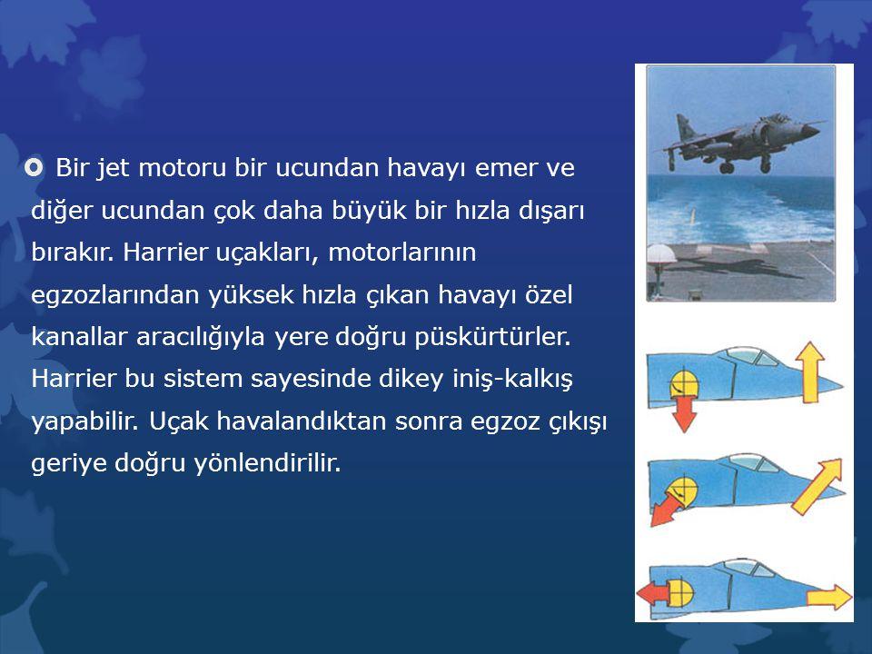 Bir jet motoru bir ucundan havayı emer ve diğer ucundan çok daha büyük bir hızla dışarı bırakır. Harrier uçakları, motorlarının egzozlarından yüksek