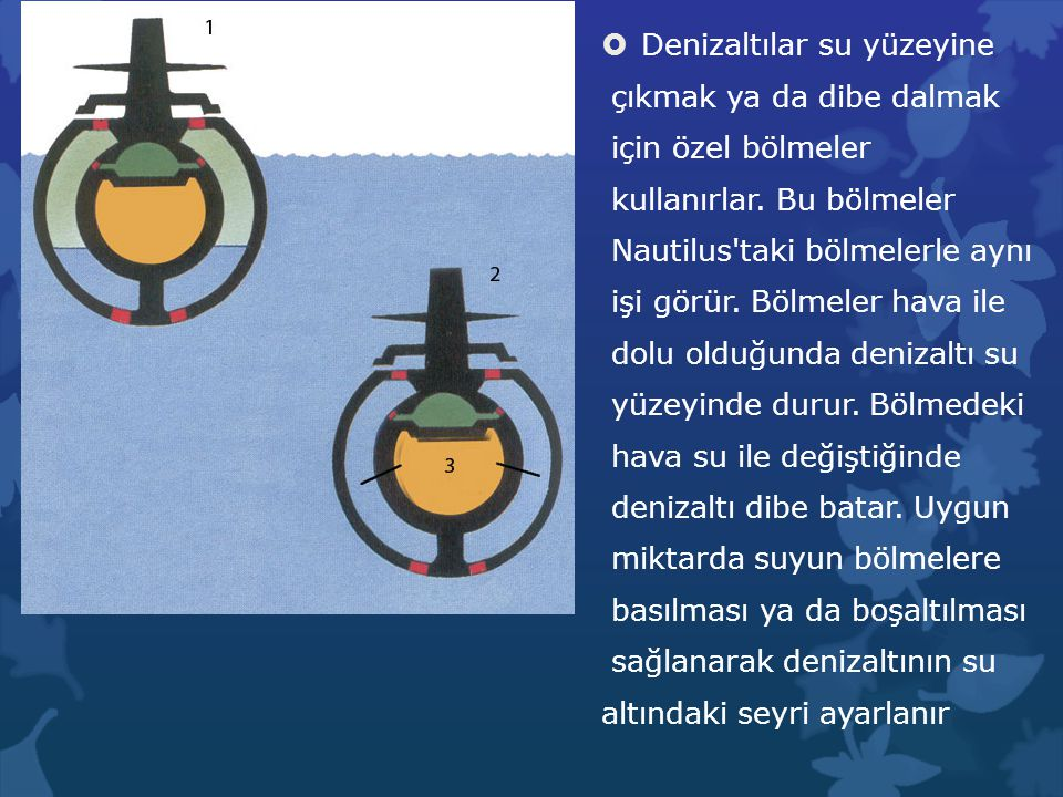 Denizaltılar su yüzeyine çıkmak ya da dibe dalmak için özel bölmeler kullanırlar. Bu bölmeler Nautilus'taki bölmelerle aynı işi görür. Bölmeler hava