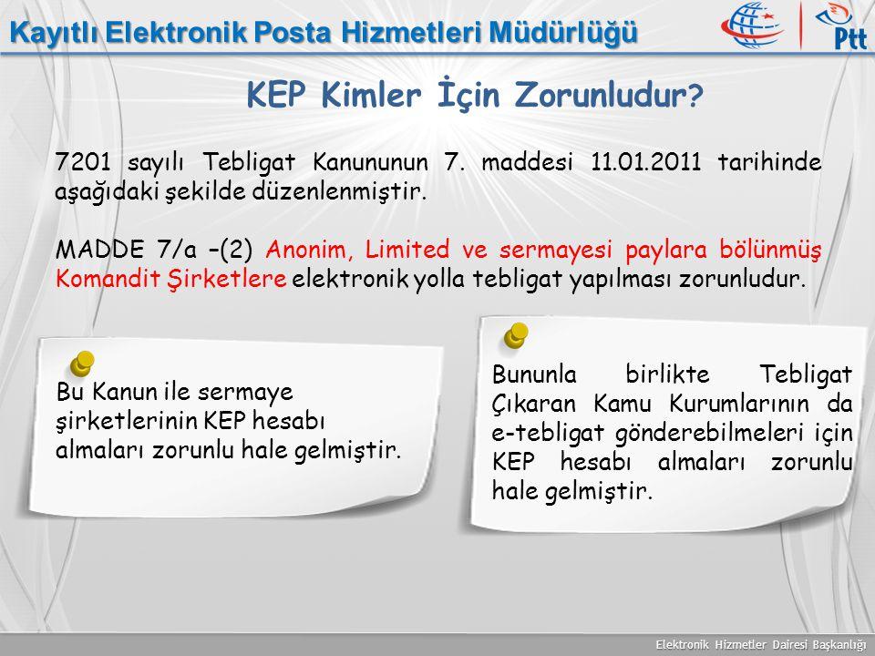 Elektronik Hizmetler Dairesi Başkanlığı Kayıtlı Elektronik Posta Hizmetleri Müdürlüğü KEP Kimler İçin Zorunludur ? 7201 sayılı Tebligat Kanununun 7. m