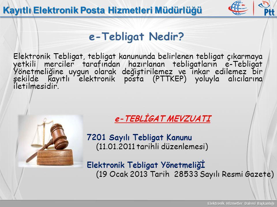 Elektronik Hizmetler Dairesi Başkanlığı Kayıtlı Elektronik Posta Hizmetleri Müdürlüğü e-Tebligat Nedir? Elektronik Tebligat, tebligat kanununda belirl