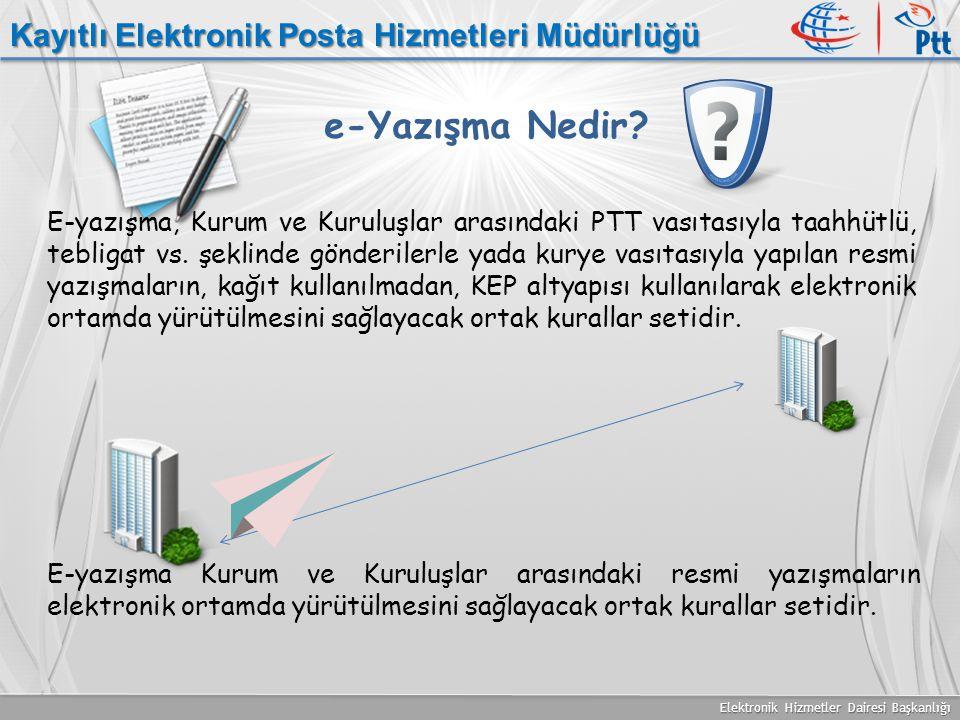 Elektronik Hizmetler Dairesi Başkanlığı Kayıtlı Elektronik Posta Hizmetleri Müdürlüğü e-Yazışma Nedir? E-yazışma, Kurum ve Kuruluşlar arasındaki PTT v