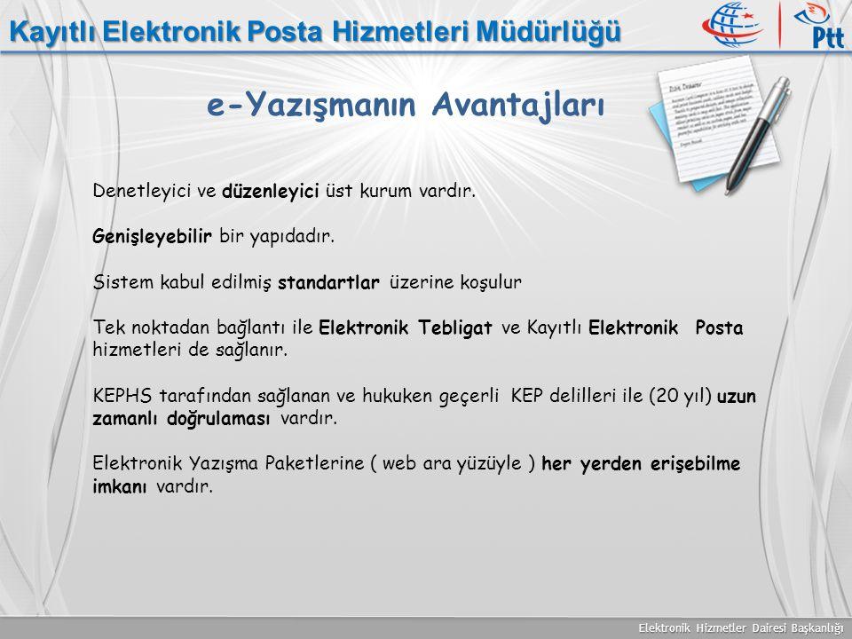 Elektronik Hizmetler Dairesi Başkanlığı e-Yazışmanın Avantajları Denetleyici ve düzenleyici üst kurum vardır. Genişleyebilir bir yapıdadır. Sistem kab