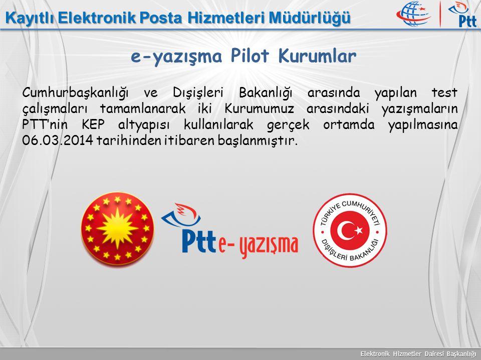 Elektronik Hizmetler Dairesi Başkanlığı Kayıtlı Elektronik Posta Hizmetleri Müdürlüğü Cumhurbaşkanlığı ve Dışişleri Bakanlığı arasında yapılan test ça