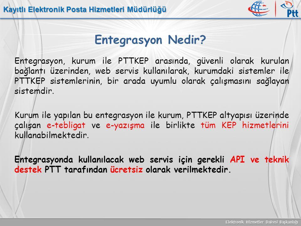 Elektronik Hizmetler Dairesi Başkanlığı Kayıtlı Elektronik Posta Hizmetleri Müdürlüğü Entegrasyon Nedir? Entegrasyon, kurum ile PTTKEP arasında, güven