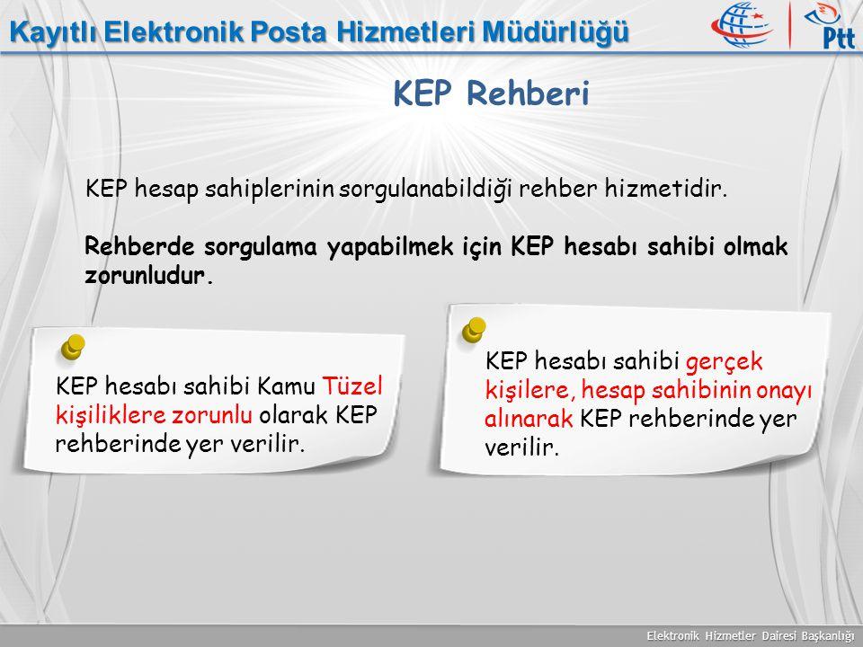 Elektronik Hizmetler Dairesi Başkanlığı Kayıtlı Elektronik Posta Hizmetleri Müdürlüğü KEP Rehberi KEP hesap sahiplerinin sorgulanabildiği rehber hizme