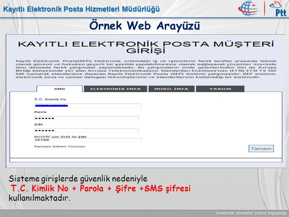 Elektronik Hizmetler Dairesi Başkanlığı Kayıtlı Elektronik Posta Hizmetleri Müdürlüğü Örnek Web Arayüzü Sisteme girişlerde güvenlik nedeniyle T.C. Kim