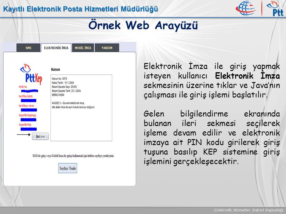 Elektronik Hizmetler Dairesi Başkanlığı Kayıtlı Elektronik Posta Hizmetleri Müdürlüğü Örnek Web Arayüzü Elektronik İmza ile giriş yapmak isteyen kulla
