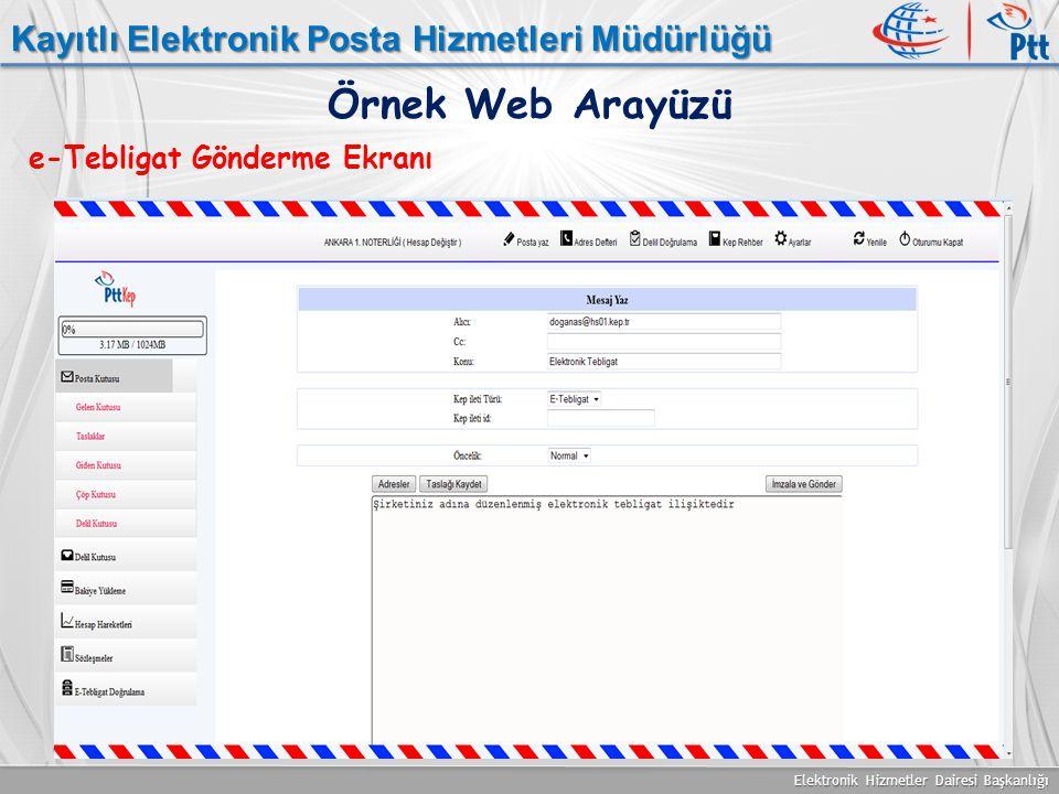 Elektronik Hizmetler Dairesi Başkanlığı Kayıtlı Elektronik Posta Hizmetleri Müdürlüğü e-Tebligat Gönderme Ekranı Örnek Web Arayüzü