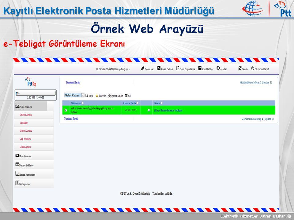 Elektronik Hizmetler Dairesi Başkanlığı Kayıtlı Elektronik Posta Hizmetleri Müdürlüğü e-Tebligat Görüntüleme Ekranı Örnek Web Arayüzü