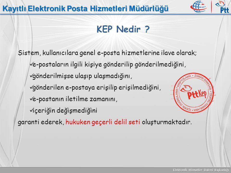 Elektronik Hizmetler Dairesi Başkanlığı Kayıtlı Elektronik Posta Hizmetleri Müdürlüğü Sistem, kullanıcılara genel e-posta hizmetlerine ilave olarak; e