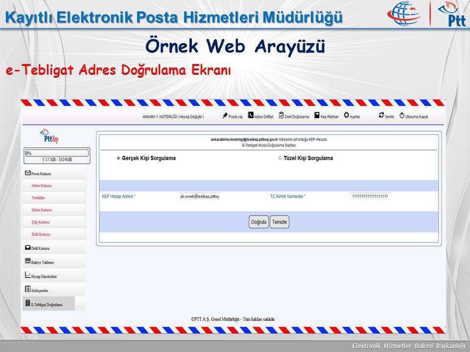 Elektronik Hizmetler Dairesi Başkanlığı Kayıtlı Elektronik Posta Hizmetleri Müdürlüğü e-Tebligat Adres Doğrulama Ekranı Örnek Web Arayüzü