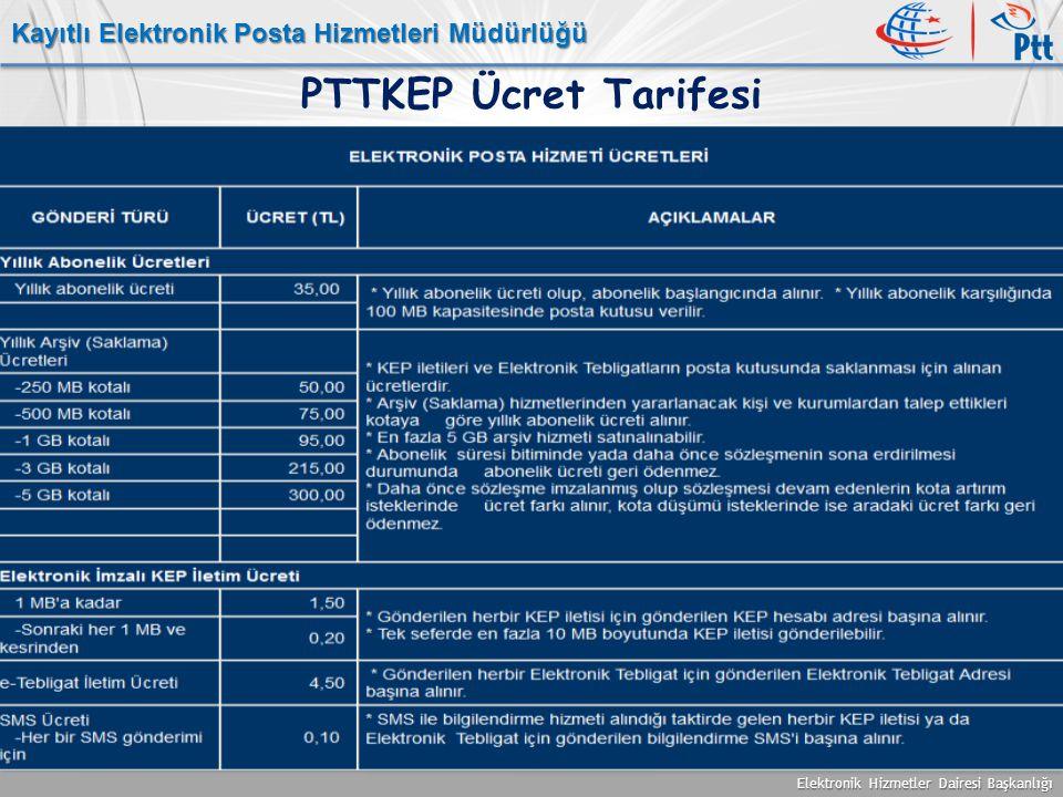 Elektronik Hizmetler Dairesi Başkanlığı Kayıtlı Elektronik Posta Hizmetleri Müdürlüğü PTTKEP Ücret Tarifesi