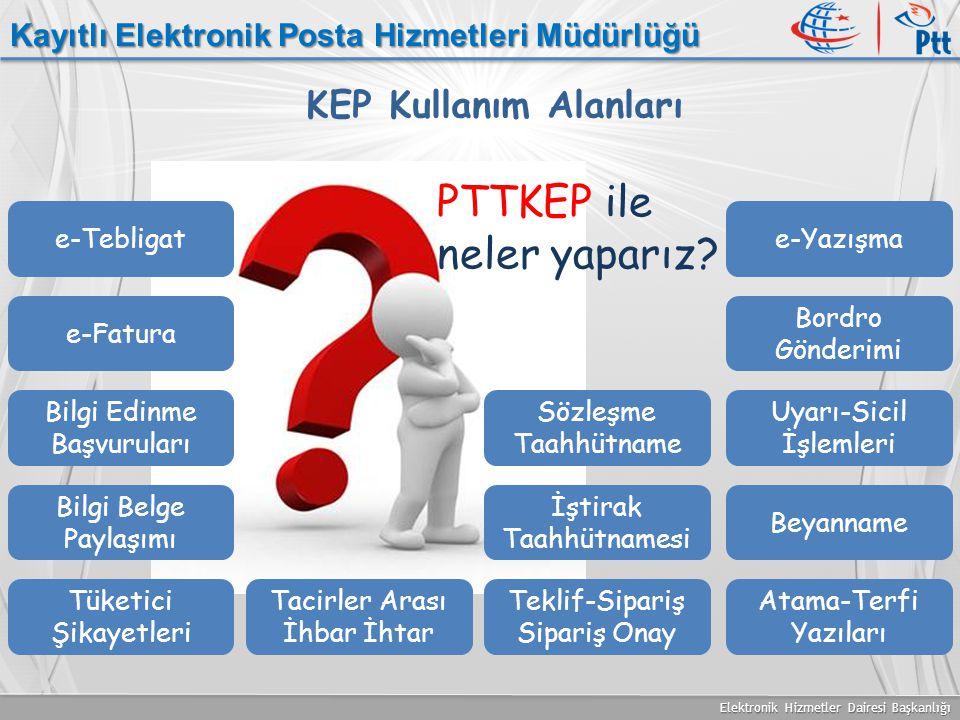 Elektronik Hizmetler Dairesi Başkanlığı Kayıtlı Elektronik Posta Hizmetleri Müdürlüğü KEP Kullanım Alanları e-Tebligate-Yazışma e-Fatura Bilgi Belge P
