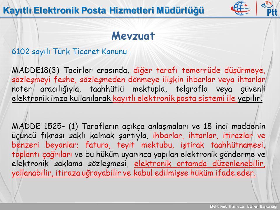 Elektronik Hizmetler Dairesi Başkanlığı Kayıtlı Elektronik Posta Hizmetleri Müdürlüğü Mevzuat 6102 sayılı Türk Ticaret Kanunu MADDE18(3) Tacirler aras