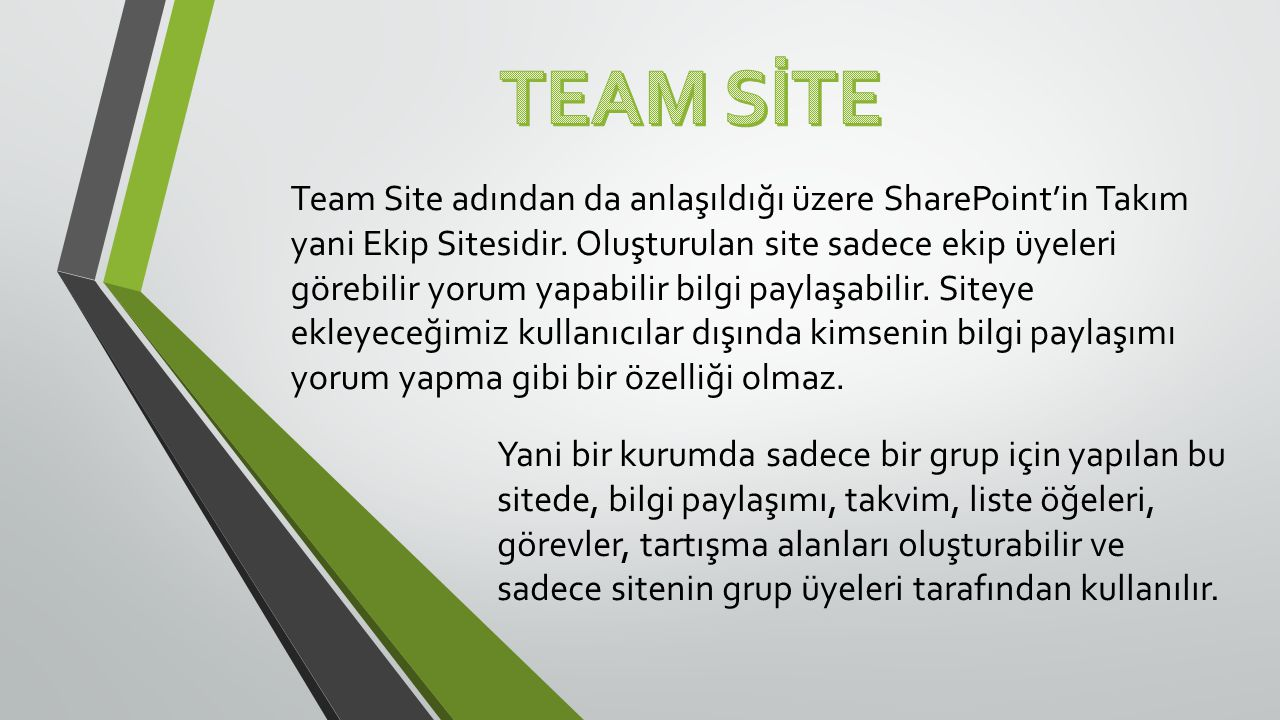 Team Site adından da anlaşıldığı üzere SharePoint'in Takım yani Ekip Sitesidir.