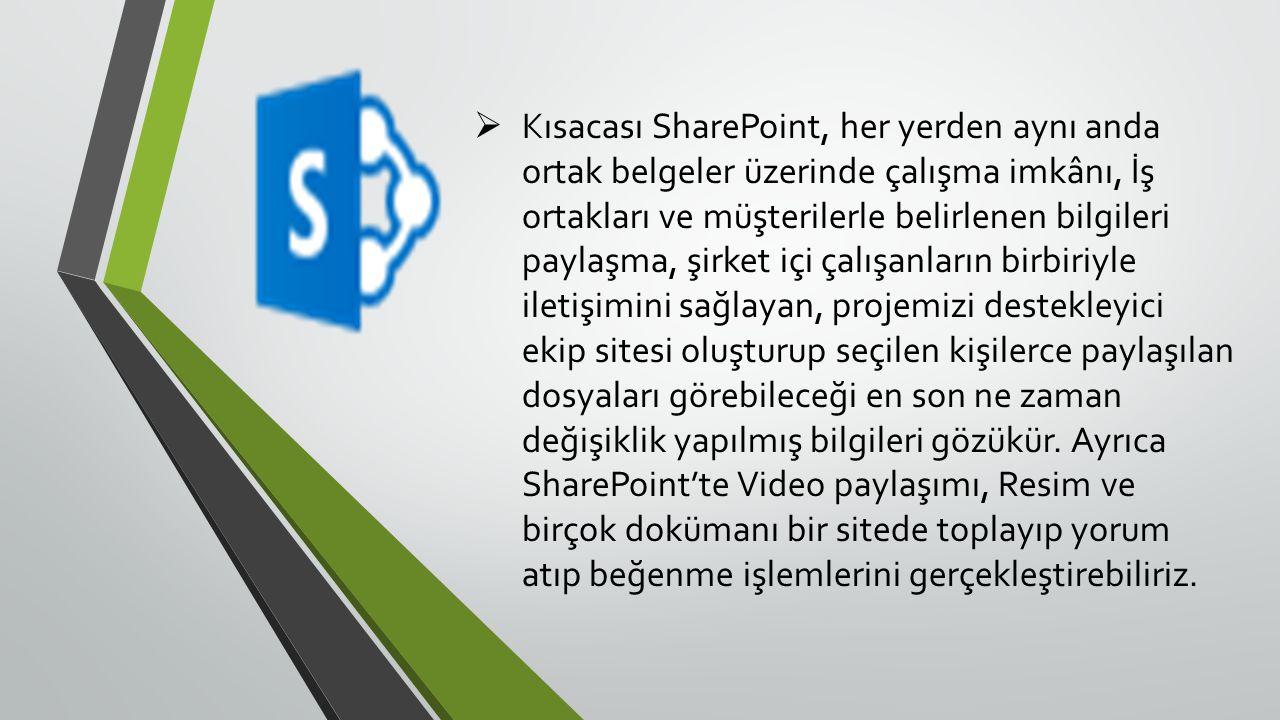  Kısacası SharePoint, her yerden aynı anda ortak belgeler üzerinde çalışma imkânı, İş ortakları ve müşterilerle belirlenen bilgileri paylaşma, şirket içi çalışanların birbiriyle iletişimini sağlayan, projemizi destekleyici ekip sitesi oluşturup seçilen kişilerce paylaşılan dosyaları görebileceği en son ne zaman değişiklik yapılmış bilgileri gözükür.