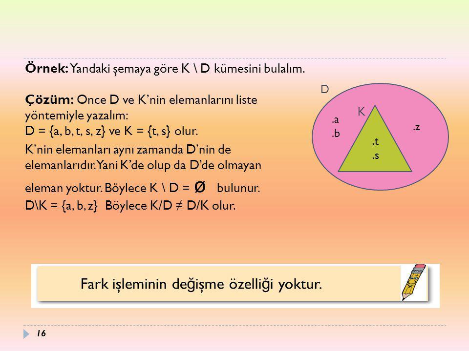 Fark işleminin de ğ işme özelli ğ i yoktur. Örnek: Yandaki şemaya göre K \ D kümesini bulalım. Çözüm: Once D ve K'nin elemanlarını liste yöntemiyle ya