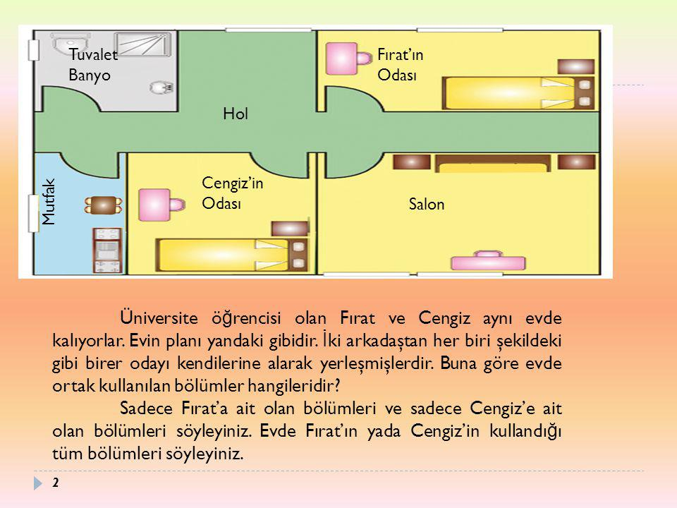 Tuvalet Banyo Fırat'ın Odası Hol Mutfak Cengiz'in Odası Salon Üniversite ö ğ rencisi olan Fırat ve Cengiz aynı evde kalıyorlar. Evin planı yandaki gib