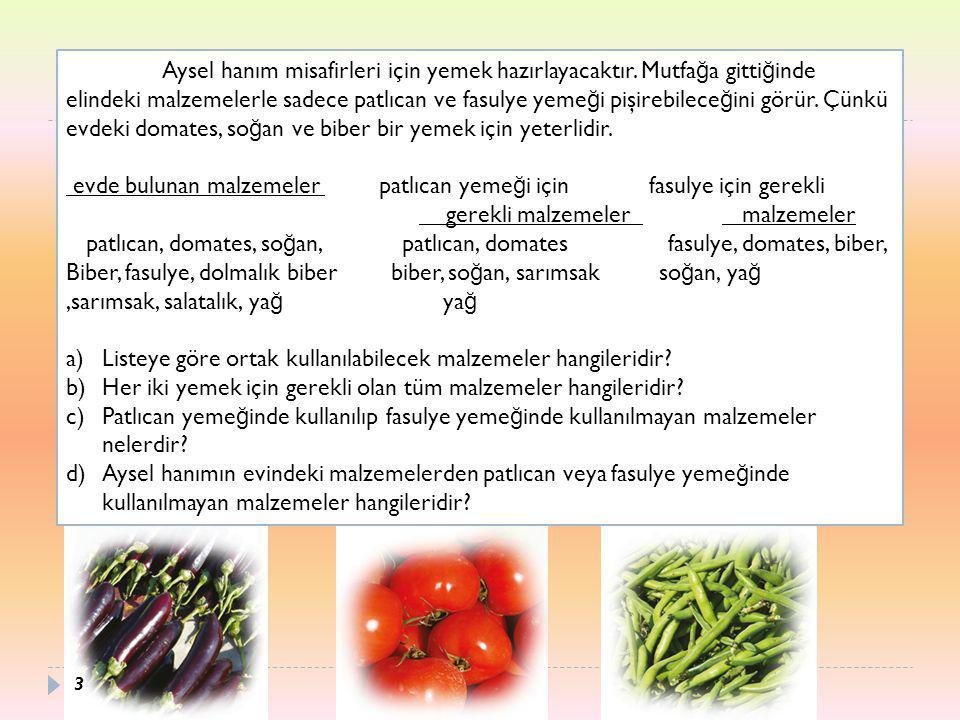 Yukarıdaki örnekte mutfakta bulunan malzemelerin kümesi E ile patlıcan yeme ğ i için gerekli malzemeler A ile, fasulye yeme ğ i için gerekli malzemeler B ile gösterilmiştir.