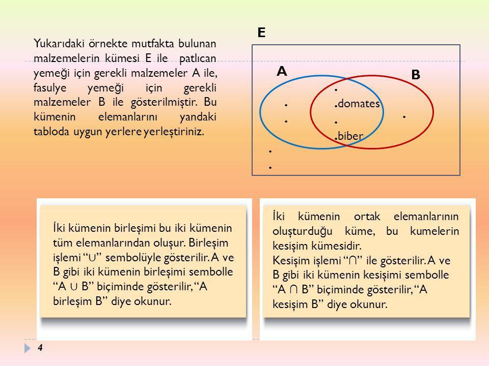 15 İ ki kümenin fark kümesi, bir kümede olup di ğ erinde olmayan elemanlardan oluşur.