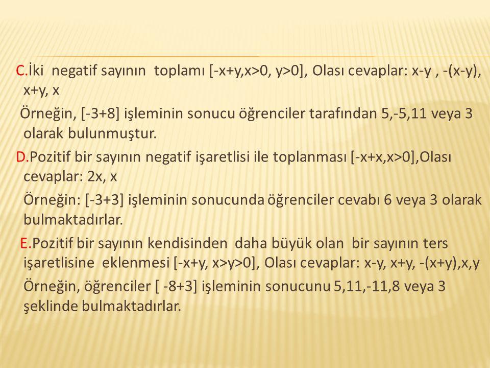C.İki negatif sayının toplamı [-x+y,x>0, y>0], Olası cevaplar: x-y, -(x-y), x+y, x Örneğin, [-3+8] işleminin sonucu öğrenciler tarafından 5,-5,11 veya