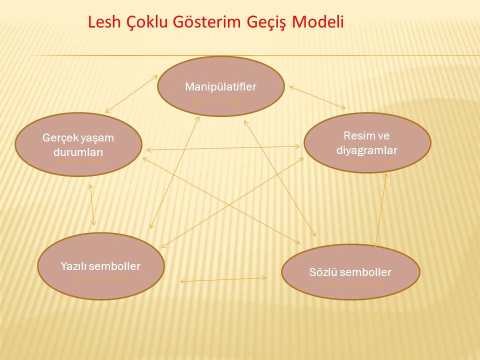 Manipülatifler Gerçek yaşam durumları Resim ve diyagramlar Yazılı semboller Sözlü semboller Lesh Çoklu Gösterim Geçiş Modeli