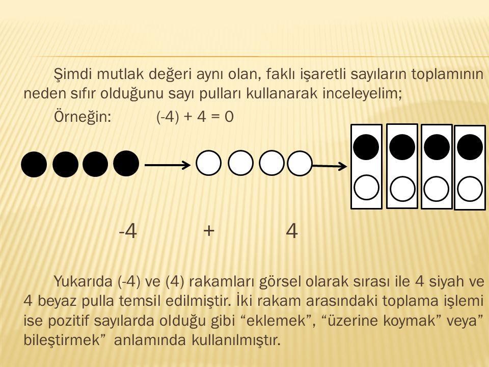 Şimdi mutlak değeri aynı olan, faklı işaretli sayıların toplamının neden sıfır olduğunu sayı pulları kullanarak inceleyelim; Örneğin: (-4) + 4 = 0 -4 + 4 Yukarıda (-4) ve (4) rakamları görsel olarak sırası ile 4 siyah ve 4 beyaz pulla temsil edilmiştir.
