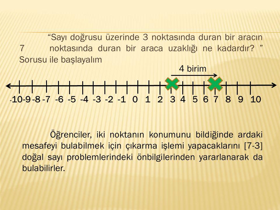 Sayı doğrusu üzerinde 3 noktasında duran bir aracın 7 noktasında duran bir araca uzaklığı ne kadardır.