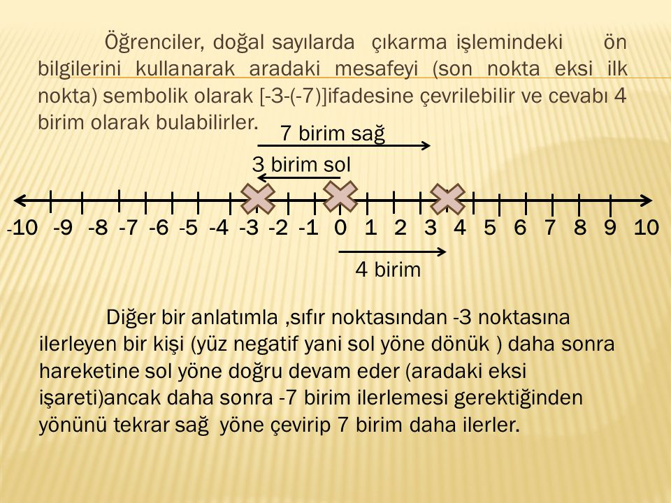 Öğrenciler, doğal sayılarda çıkarma işlemindeki ön bilgilerini kullanarak aradaki mesafeyi (son nokta eksi ilk nokta) sembolik olarak [-3-(-7)]ifadesine çevrilebilir ve cevabı 4 birim olarak bulabilirler.