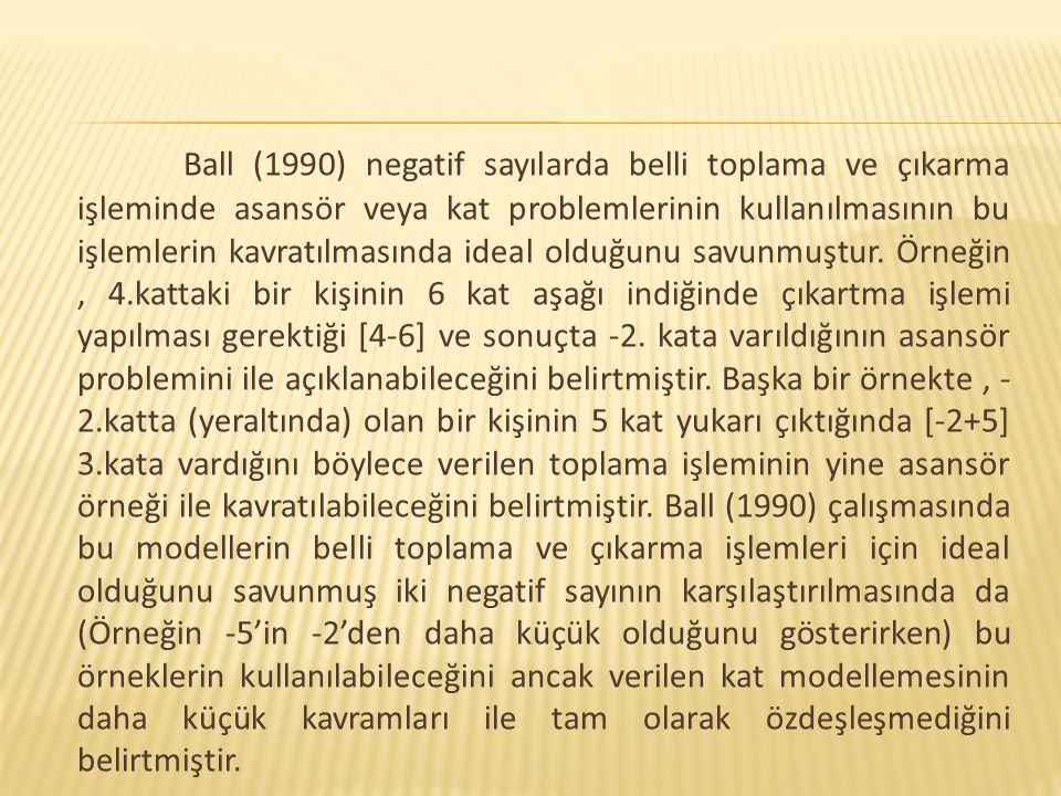 Ball (1990) negatif sayılarda belli toplama ve çıkarma işleminde asansör veya kat problemlerinin kullanılmasının bu işlemlerin kavratılmasında ideal o