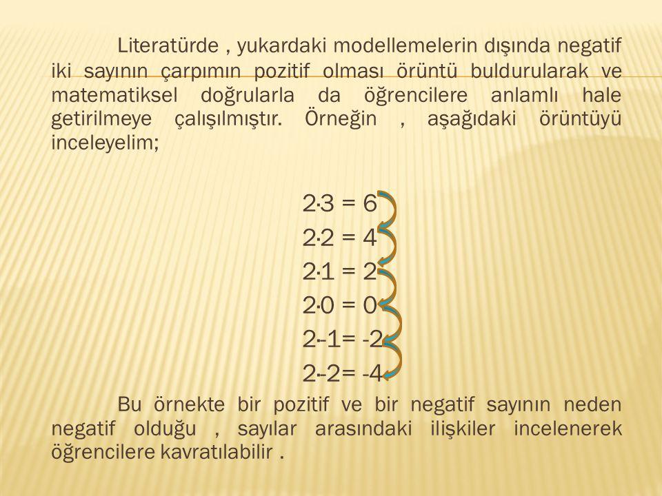 Literatürde, yukardaki modellemelerin dışında negatif iki sayının çarpımın pozitif olması örüntü buldurularak ve matematiksel doğrularla da öğrencilere anlamlı hale getirilmeye çalışılmıştır.