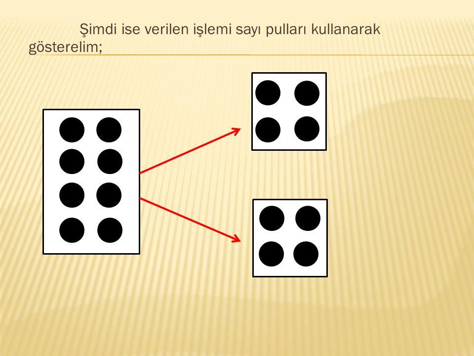 Şimdi ise verilen işlemi sayı pulları kullanarak gösterelim;