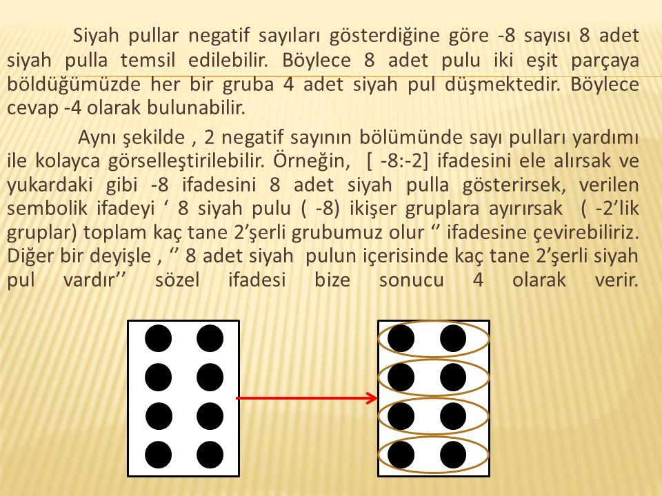 Siyah pullar negatif sayıları gösterdiğine göre -8 sayısı 8 adet siyah pulla temsil edilebilir. Böylece 8 adet pulu iki eşit parçaya böldüğümüzde her