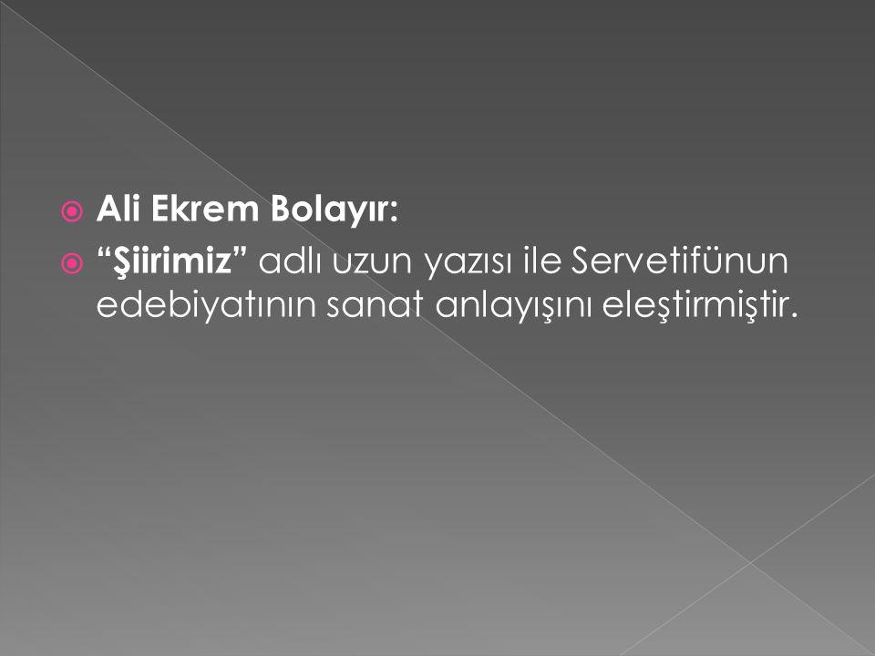  Ali Ekrem Bolayır:  Şiirimiz adlı uzun yazısı ile Servetifünun edebiyatının sanat anlayışını eleştirmiştir.