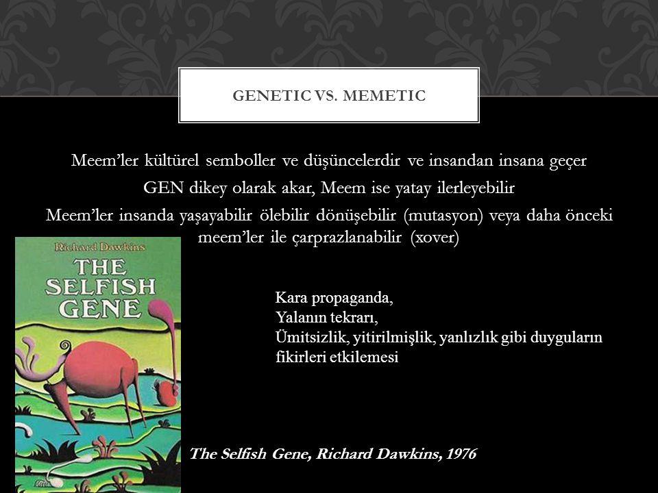 Meem'ler kültürel semboller ve düşüncelerdir ve insandan insana geçer GEN dikey olarak akar, Meem ise yatay ilerleyebilir Meem'ler insanda yaşayabilir