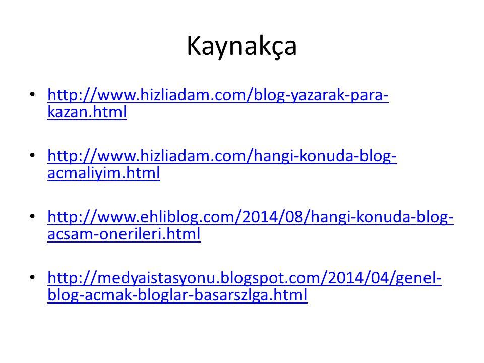 Kaynakça http://www.hizliadam.com/blog-yazarak-para- kazan.html http://www.hizliadam.com/blog-yazarak-para- kazan.html http://www.hizliadam.com/hangi-