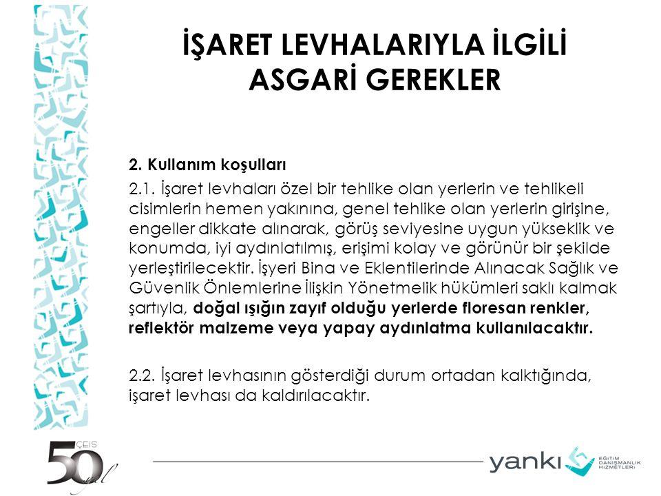 İŞARET LEVHALARIYLA İLGİLİ ASGARİ GEREKLER 2.Kullanım koşulları 2.1.