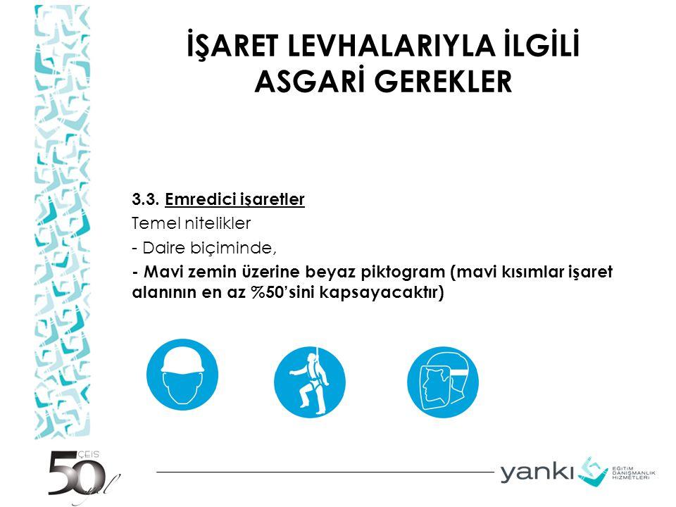İŞARET LEVHALARIYLA İLGİLİ ASGARİ GEREKLER 3.3.
