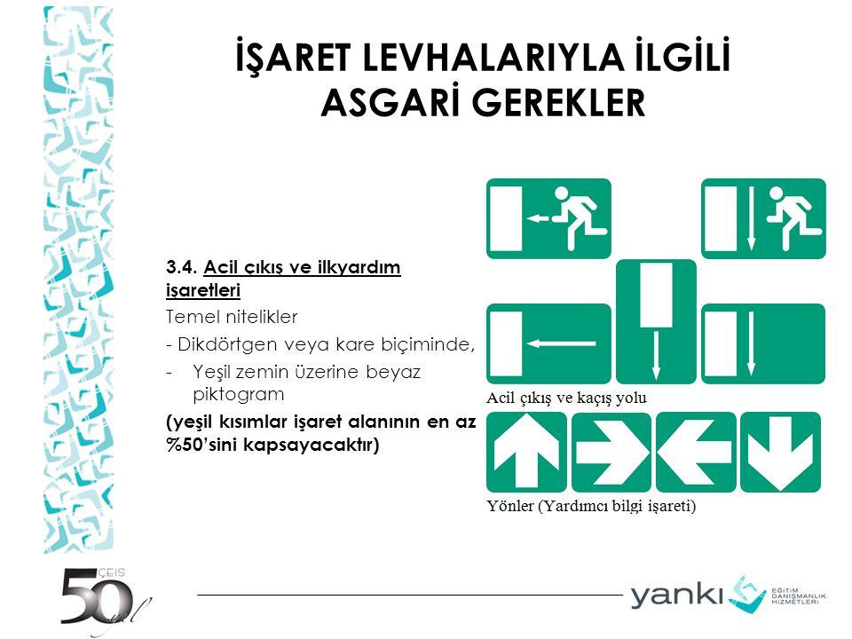 İŞARET LEVHALARIYLA İLGİLİ ASGARİ GEREKLER 3.4.