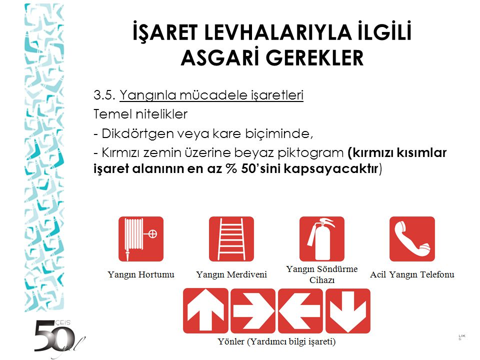 İŞARET LEVHALARIYLA İLGİLİ ASGARİ GEREKLER 3.5.