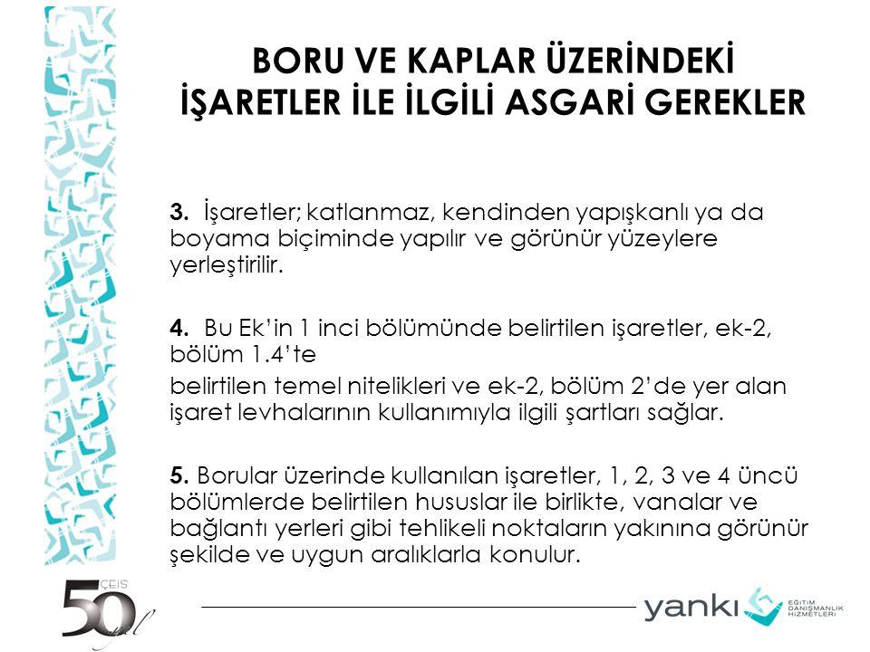 BORU VE KAPLAR ÜZERİNDEKİ İŞARETLER İLE İLGİLİ ASGARİ GEREKLER 3.